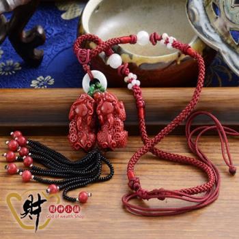 【財神小舖】紅珊瑚貔貅項鍊(海竹)《含開光》正財偏財、提升財運