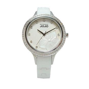 NATURALLY JOJO 花朵盛會時尚優質陶瓷腕錶-白色-JO96848-80F