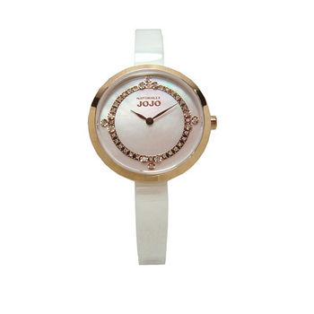 NATURALLY JOJO 鎂光燈焦點晶鑽時尚陶瓷優質腕錶-白+粉紅-JO96874-11R
