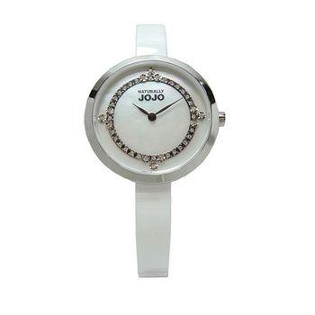 NATURALLY JOJO 鎂光燈焦點晶鑽時尚陶瓷優質腕錶-白貝-JO96874-81F