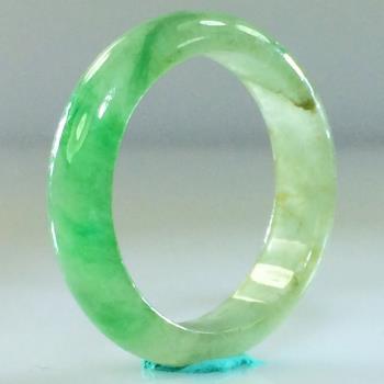 【森茂珠寶】緬甸天然翡翠A貨 冰種帶正陽綠戒指 C707