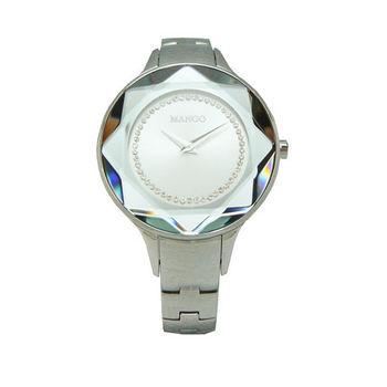 MANGO 多元化切割之美時尚女性優質腕錶-銀-MA6297L-SR