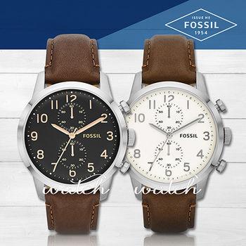 【FOSSIL】不敗錶款_經典紳士雙眼皮革_男錶(FS4873/FS4872)