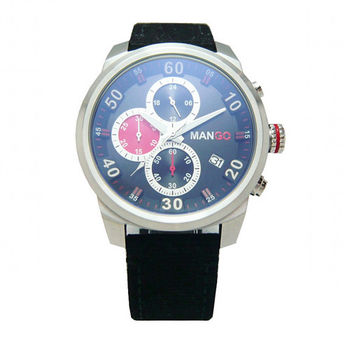 MANGO 三環偵測雷達時尚優質男性腕錶-銀-MG950001-89