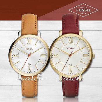 【FOSSIL】甜美氣質錶款_簡約指針型皮革_女錶(ES3737/ES3856)