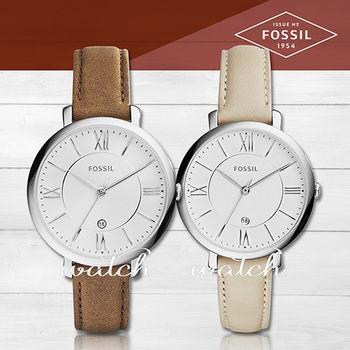【FOSSIL】甜美氣質錶款_皮革羅馬文_女錶(ES3708/ES3793)