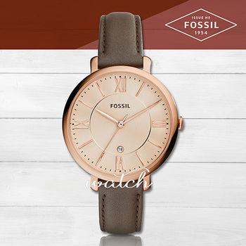 【FOSSIL】雜誌推薦款_簡約優雅指針型_皮革女錶(ES3707)
