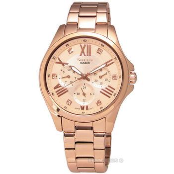 SHEEN CASIO / SHE-3806PG-9A / 卡西歐法式女爵施華洛世奇水晶三環不鏽鋼女錶 玫瑰金 37mm