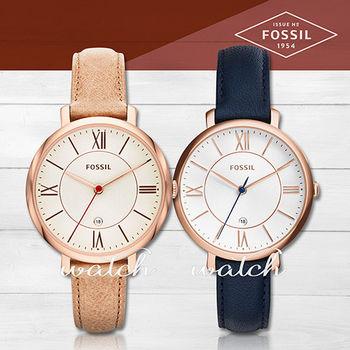 【FOSSIL】甜美氣質錶款_玫瑰金_皮革女錶(ES3487/ES3843)