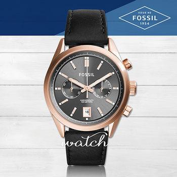 【FOSSIL】雜誌推薦款_簡約時尚_黑色雙眼計時男錶(CH2991)