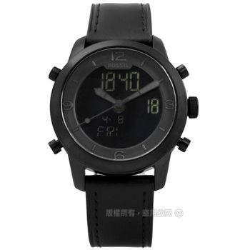FOSSIL / FS5174 / 旅行領航員日期計時雙顯真皮手錶 黑色 44mm