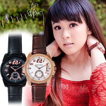 TIME WHEEL時尚小秒針數字日期質感皮錶