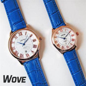 Wave羅馬數字波紋面板日期質感情侶對錶皮錶