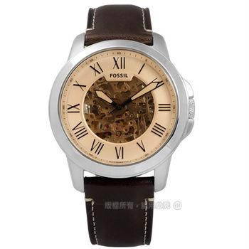 FOSSIL / ME3122 / 歐美經典工業風鏤空機械真皮手錶 玫瑰金x棕 44mm