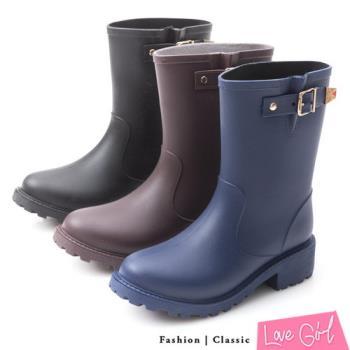 ☆Love Girl☆經典百搭帥氣金屬單扣中筒雨靴