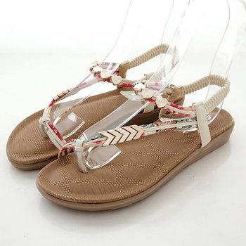 《DOOK》氣質設計款斜繞帶飾釦涼鞋-米色