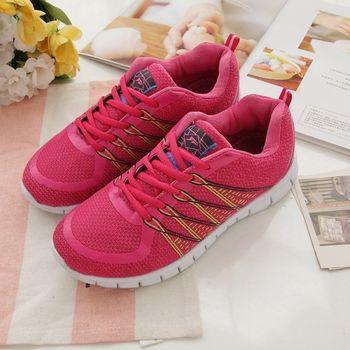 《DOOK》螢光線條網布透氣運動鞋-桃粉色