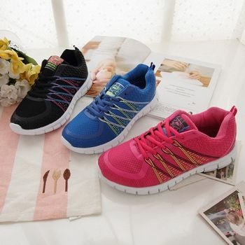 《DOOK》螢光線條網布透氣運動鞋-3色