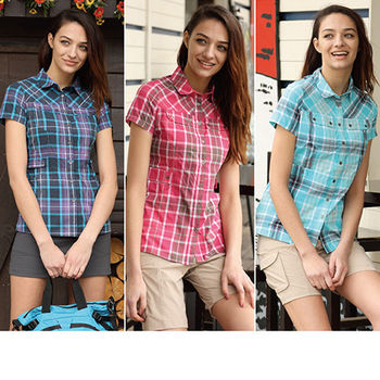 【JORDON】橋登女款 格子速乾襯衫 短袖長版 合身透氣短袖襯衫 (2908)