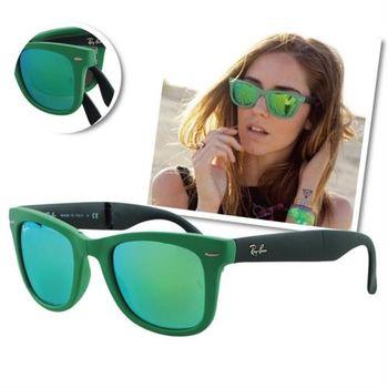 【Ray-Ban雷朋】4105-602119-54折疊款水銀鏡面太陽眼鏡(#草原綠-大版)