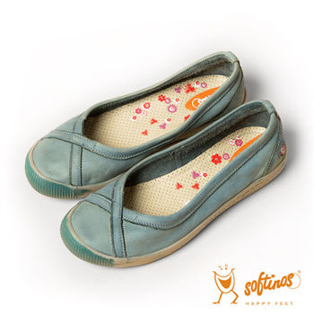 Softinos(女) 大交叉 單色調牛皮平底休閒鞋 - 青玉綠