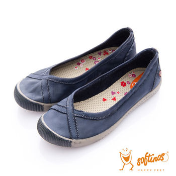Softinos(女) 大交叉 單色調牛皮平底休閒鞋 - 石苔藍