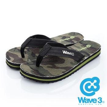 WAVE 3 (男) - 迷彩瘋  帆布底立體LOGO人字夾腳拖鞋 - 綠
