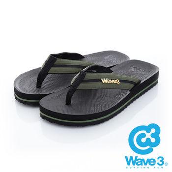WAVE 3 (男) - 學院風 仿織帶立體LOGO厚底人字夾腳拖鞋 - 軍綠