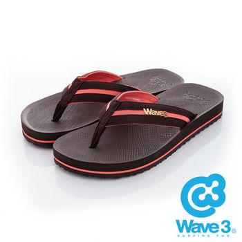 WAVE 3 (男) - 學院風 仿織帶立體LOGO厚底人字夾腳拖鞋- 咖