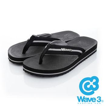 WAVE 3 (男) - 學院風 仿織帶立體LOGO厚底人字夾腳拖鞋 - 黑