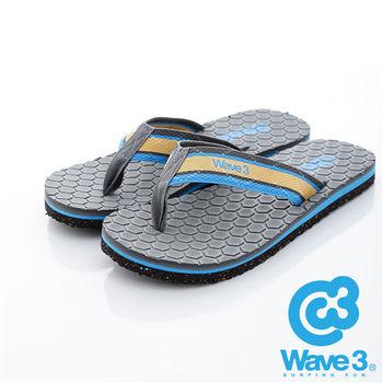WAVE 3 (男) - 蜂巢 仿織帶潛水布厚底人字夾腳拖鞋 - 織帶灰