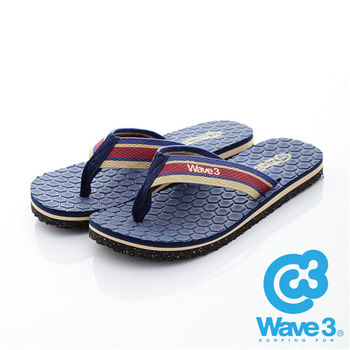WAVE 3 (男) - 蜂巢 仿織帶潛水布厚底人字夾腳拖鞋 - 織帶藍