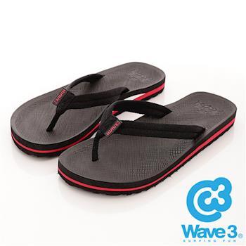 WAVE 3 (男) - 輕快的 波麗織帶人字夾腳拖 - 紅底黑