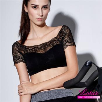 【LOTUS】微甜氣質蕾絲彈力運動內衣(經典黑)