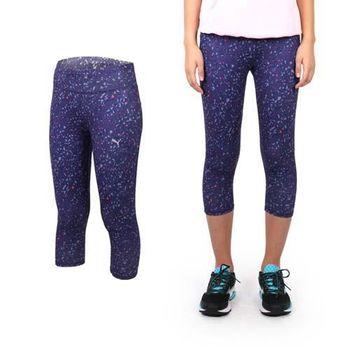 【PUMA】女慢跑系列花紋七分緊身長褲 -路跑 運動 休閒 健身 韻律 瑜珈 紫橘