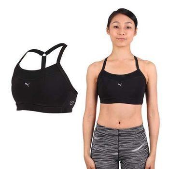 【PUMA】女PWRSHAPE中衝擊運動內衣-BRA 慢跑 有氧 瑜珈 背心 黑銀