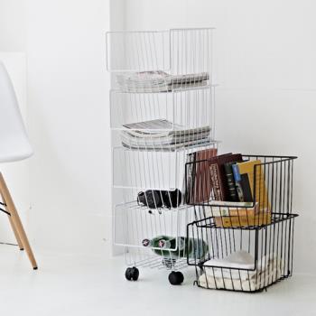 《舒適屋》簡約堆疊收納籃推車/置物架(附滑輪)(2色可選)