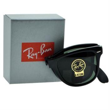 【Ray-Ban雷朋】RB4105-601-54-折疊款太陽眼鏡(#-黑框綠鏡面-大版)