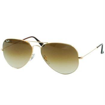 【Ray Ban雷朋】3025-001/51-58經典飛官太陽眼鏡-強化玻璃鏡片(#金邊漸層棕鏡面-小版)