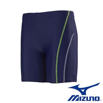 【Mizuno 美津濃】FITNESS 男泳褲 N2MB6C3183  (丈青X萊姆綠)