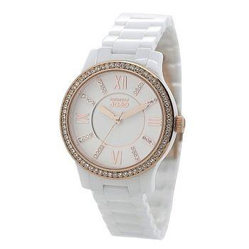 NATURALLY JOJO陶瓷晶鑽時尚腕錶-白x玫瑰金/36mm(JO96870-80R)