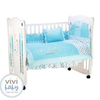 【VIVIBABY】長頸鹿嬰兒床+七件組寢具組(藍/粉)