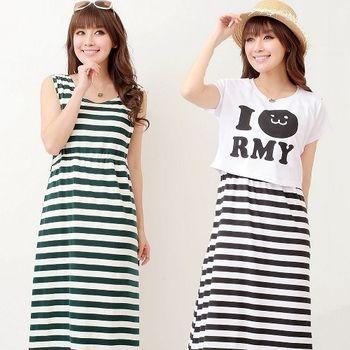 【時尚媽咪】韓版條紋兩件式休閒洋裝(共二色)