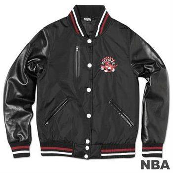 NBA-多倫多暴龍隊皮袖鋪棉棒球外套-黑(女)