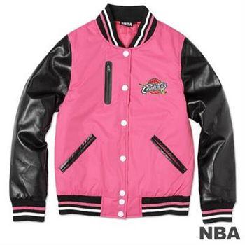 NBA-克里夫蘭騎士隊皮袖鋪棉棒球外套-粉紅(女)