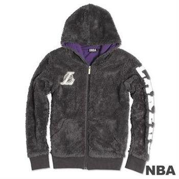 NBA-洛杉磯湖人隊毛絨刺繡連帽外套-深灰(女)