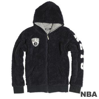 NBA-布魯克林籃網隊毛絨刺繡連帽外套-深藍(女)