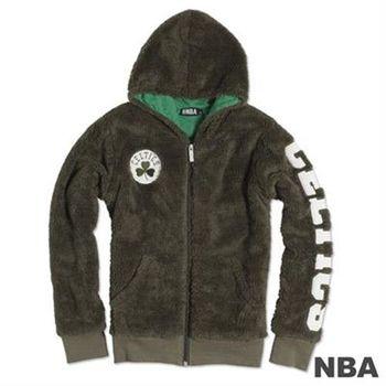 NBA-波士頓塞爾提克隊毛絨刺繡連帽外套-深綠(女)