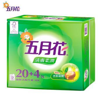 【五月花】清膚柔潤抽取衛生紙100抽*24包*3袋共72包/箱