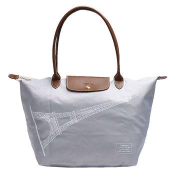 LONGCHAMP 巴黎鐵塔紀念款拉鍊摺疊長把購物包(大-淡灰色)